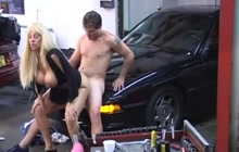 Blonde cougar fucked in a garage