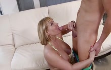 Big ass cougar Mellanie Monroe rides son's friend
