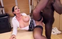 Big ass office lady tries big black dick