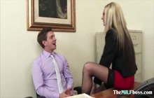 Blonde MILF with big tits gets a big hard cock deep inside her cunt